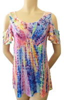 Hibiscus on Colorful Tie Dye Soft light weight Sublimation All Over Print OST340
