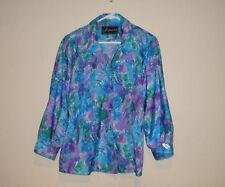 'Inspiration' Women's Long Sleeve Blouse In Blues,Greens,Purples,Whites.Size 14.