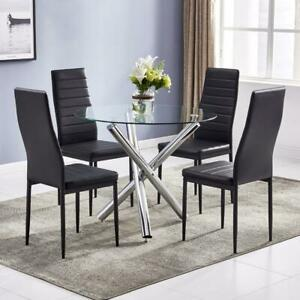 Modern Round Glass Dining Room Table and 4 Chairs Set for Kitchen Furniture UK