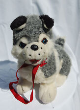 "Siberian Dog Husky Alaskan Gray White Red Tongue Leash Plush 17"" By Toy Works"