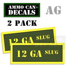 12 GA SLUG Ammo Can Box Decal Sticker Set bullet ARMY Gun safety Hunt 2 pack AG