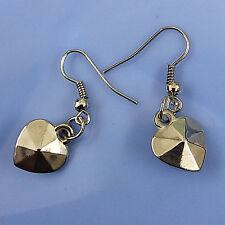 Fashion Jewelry Silver Plated 1 CM Small Heart Charm Dangle Hoop Hook Earrings