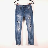 American Eagle Womens 0 Stretch Button Fly Tomgirl Distressed Denim Jeans