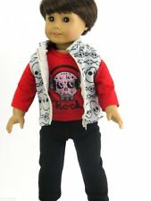 "Fits 18"" American Girl Punk Rock Boy Doll Skull Outfit Vest Pants Shirt 3pc"