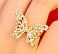 #9055 Women's Fashion Hollow Full Rhinestone Crystal Bow Butterfly Opening Ring