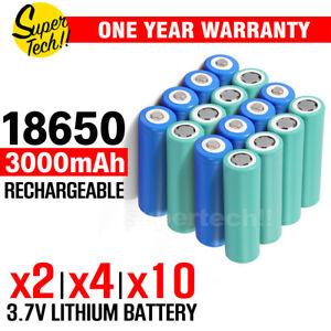 NEW 3000mAh 3.7v High Drain Rechargeable Button Flat Top Li-ion Battery 9A OZ