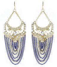 Amrita Singh Womens Gold Crystal Elizabeth Street Blue Chain Earrings NWT