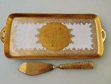 Vintage DW Karlsbader porzellan gold gilt serving dish and cake server