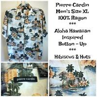 PIERRE CARDIN Men's  XL Rayon Aloha Hawaiian Inspired Button Up Shirt HIBISCUS