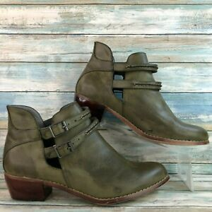 Cato Womens Green Faux Leather Casual Ankle Boot Booties Slip On Block Heel 11M