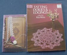 lot 3 Vintage Tatting Patterns Edgings Doilies Learn to Tat Booklets Rita Weiss