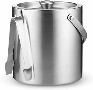 Double-Wall Stainless-Steel Insulated Ice Bucket With Lid and Ice Tong [3 Liter]