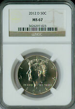 2012-D KENNEDY HALF DOLLAR NGC MS67 2ND FINEST REGISTRY  *