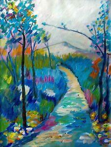 "Large Original Art Landscape Painting on Stretched Canvas 24"" x 18"""