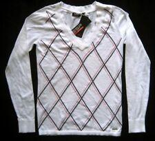 ESPRIT SPORTS Damenpullover Gr. 38 Weiß mit farbigen Rautenmuster