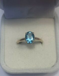 Size 7       **RL Vintage Sterling Silver 3 Pear London Blue Topaz Fancy Wedding Style Band Ring