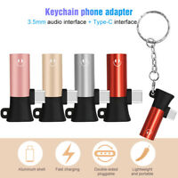 Key chain USB C Audio Cable Type C to 3.5 mm Earphone Adapter 2 in 1 Converter