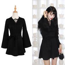 Mini Kleid Partykleid Abendkleid Gothik V-Ausschnitt Schwarz  Frühling Clubwear