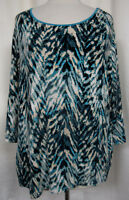 JM COLECTION WOMAN Pullover Top Turquoise Abstract Chevron Print 3/4 Sleeve  2X