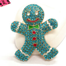 Gingerbread Man Crystal Brooch Pin Gifts New Betsey Johnson Blue Rhinestone Cute