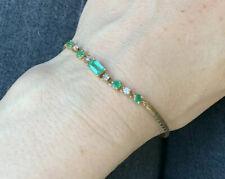 Vintage 18K Yellow Gold Colombian Emerald and Diamond Bracelet