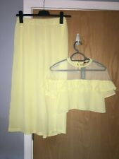 NWT VERY PRETTY LEMON TOP AND CROP WIDE LEG TROUSERS SET BY BOOHOO SIZE 8