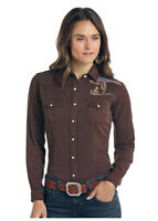Panhandle Slim Women's Chocolate Desert Embroidered Snap Up Shirt R4F9419