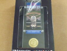 THE HIGHLAND MINT WRIGLEY FIELD 2 CHAMPS TICKET ACRYLIC DESK TOP MEDALLION COIN