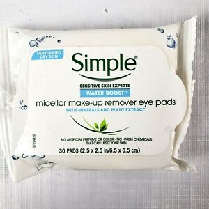 Simple Micellar Make-Up Remover Eye Pads  Water Boost hypoallergenic 30 pads