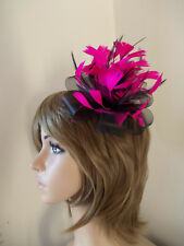 New Black & Cerise Hot Pink Looped fascinator feathers hair clip brooch