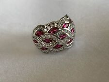 Stunning Unique 14K WG - Woven Cocktail Ring - Dome Band Size 7 - Ruby CZ