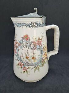 Villeroy & Boch Mettlach Bierkrug Zinndeckel & Schiff / Blumen Design, um 1900