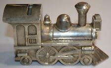 Vintage 1960's Pewter Coin Train Steam Engine Railroad Piggy Bank Metal