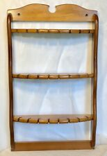 Vtg Wooden 24 Collectible Spoon Display Rack Holder Wood Curved Shelf Wall 18x10