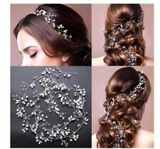 1M elegant fashion pearl crystal beads long Hair rope wedding accessory New