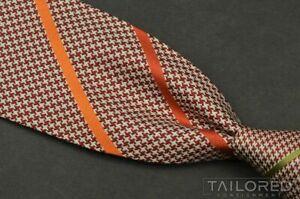 "HERMES 338861T Orange Houndstooth Striped Heavy Silk Mens Luxury Tie - 2.625"""