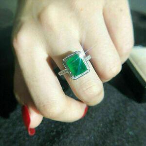 2Ct Emerald Cut Green Emerald Diamond Halo Engagement Ring 14K White Gold Finish