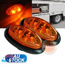 2X12V Amber LED Oval Side Marker Clearance Lights Indicators Trailer Truck Lamp