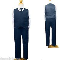BOY Navy blue Dress VEST Suit w/TIE size (S-XL, 2T-4T, 5-7) Formal Tuxedo Easter