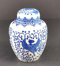 Vintage Covered Ginger Jar Flying Turkey Dragon Phoenix Bird Blue White Flower