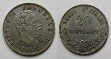 ITALIA , 20 CENTESIMI DE 1863 . PLATA
