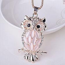 Fashion Women Crystal Rhinestone Opal Owl Pendant Necklace Sweater Chain