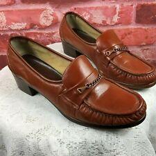 Vintage 60s Joyce Women's Rust Leather Loafer Heels Size 9