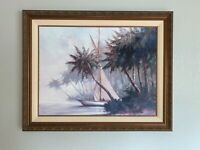 """Malarz Leaving Out Coastal Sailboat Palm Canvas Painting Gold Framed 57""""x47"""""""