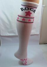 Womens Novelty White ROCK Trouser Socks Size 9-11 PINK Stars White cuff Sparkle