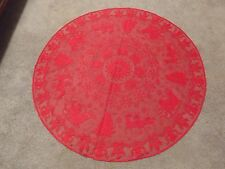 "Red lace Christmas design Table Topper 45"" round"