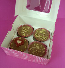 4 BOXED DUSTY PINK DOG MUFFINS CUPCAKES CAKES CAKE BIRTHDAY treat puppy
