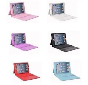 Faux Leather Case Cover Built-in Bluetooth Wireless Keyboard for iPad Mini 2/3/4