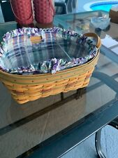 longaberger basket oval serving with 2 liners and a fabric liner