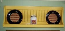 Bowl Rack Plate Shelf Distressed Country Wall Hanging Plate Rack  Black Yellow